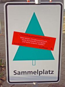Sammelplätze für Weihnachtsbäume