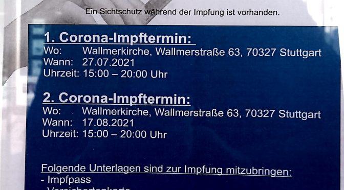 Sofort-Impfen ohne Termin in der Wallmerkirche am Di 27.7.2021